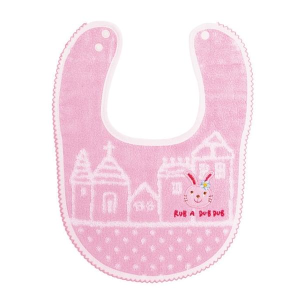 【日本製】【Rub a dub dub】今治毛巾 寶寶刺繡紋章圍兜兜 粉色 SD-9118 - Rubadubdub