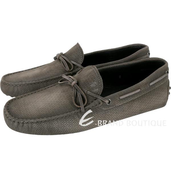 TOD'S Gommino 壓紋麂皮綁帶休閒豆豆鞋(男鞋/棕灰) 1820105-86