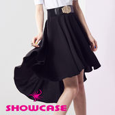 【SHOWCASE】獨特魅力前短長顯瘦設計大圓裙(黑)