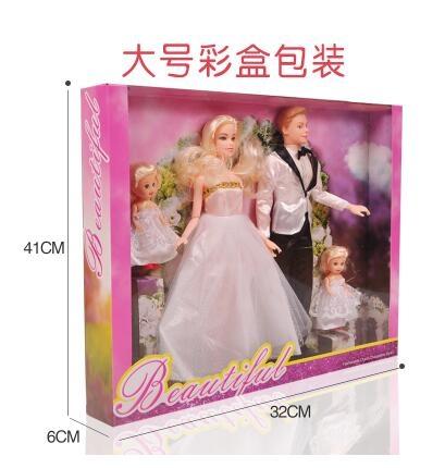 芭芘洋娃娃一家人套装小凯丽玩具男朋友肯王子爸爸礼盒女孩娃婚纱【桃園速出】TWXH-000832