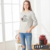 【JEEP】女裝 立體狐狸圖騰長袖針織衫 (淺灰)