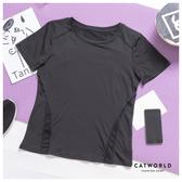 Catworld 純色時代。字母印花拼網眼圓領運動T【11407143】‧S-XL