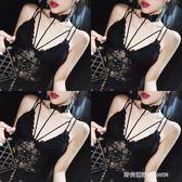 黑色性感蕾絲吊帶背心帶胸墊chic無袖露肩上衣女外穿打底衫  時尚潮流