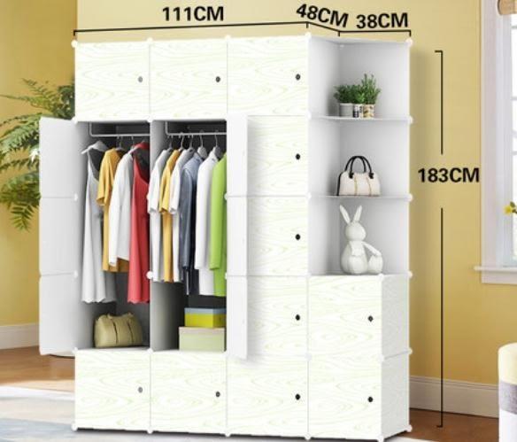 簡易衣櫃簡約現代經濟型實木紋成人塑料組合櫃子板式 【老闆大折扣】LX