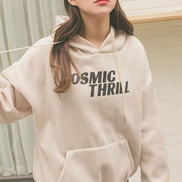 MUMU【T11940】COSMIC THRILL內刷毛抽繩連帽大學T帽T