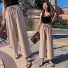 雪紡垂感闊腿褲女春秋正韓學生高腰墜感寬鬆夏季薄款九分直筒褲子