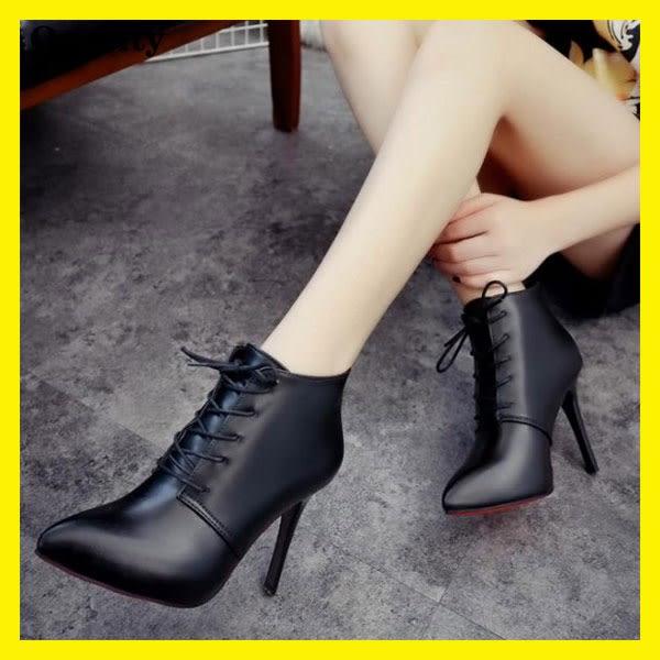 秋新款超高跟細跟尖頭系帶女鞋短靴及裸靴踝靴馬丁靴女靴子【onecity】