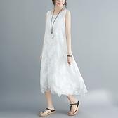 蕾絲連身裙-圓領寬鬆純色無袖女背心裙2色73xz34[巴黎精品]