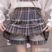 毛呢半身裙 秋冬季年新款時尚格子半身裙女毛呢高腰百褶裙子a字裙短裙褲 快速出貨