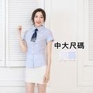 中大尺碼職業服免燙襯衫/ 直紋反折短袖女彈性襯衫《Sebiro 西米羅男女套裝制服》001030031