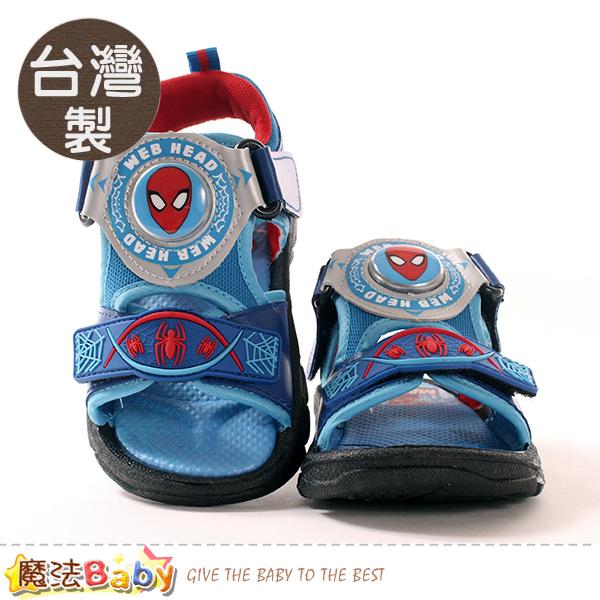 男童鞋 台灣製蜘蛛人正版閃燈涼鞋 電燈鞋 魔法Baby
