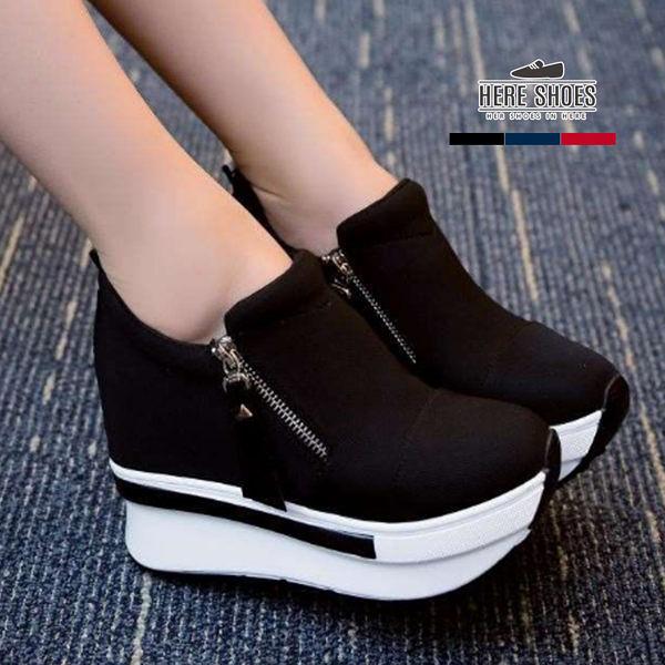 [Here Shoes]韓版心機顯高 百搭簡約側拉鍊 內增高4.5cm 條紋厚底5.5cm 休閒鞋─KD823