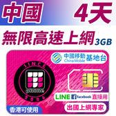 【TPHONE上網專家】中國無限上網 4天 前面3GB支援高速 使用中國移動訊號 不須翻牆 FB/LINE直接用