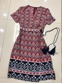 夏紅色碎花裙子 中長款新款夏裝短袖民族風氣質過膝連身裙 亞斯藍