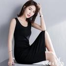 無袖洋裝 黑色打底吊帶連身裙無袖內搭背心長裙春夏裝顯瘦裙子2021年新款女 艾家