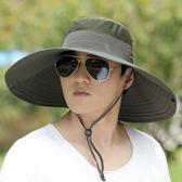戶外釣魚帽天太陽帽大檐漁夫帽男士防曬遮陽潮登山帽子 薔薇時尚
