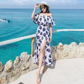中大尺碼沙灘裙女新款波西米亞一字肩連衣裙長裙仙 zm5108『男人範』