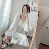 洋裝 韓系大碼秋復古收腰v領長袖連身裙 小禮服 花漾小姐【預購】