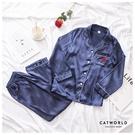 Catworld 玫瑰之戀。居家冰絲長袖襯衫睡衣兩件組【16600534】‧M-2XL