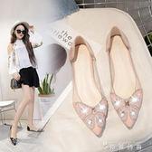 夏季新款韓版水鑚透明尖頭淺口平跟單鞋甜美平底涼鞋女休閒鞋  薔薇時尚