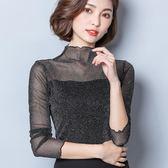 【內搭衣特價259】新款T恤韓版蕾絲衫長袖網紗上衣大碼女裝半高領打底衫 BK102『易購3c館』