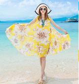 維緋夏新款雪紡印花胖MM大碼連身裙波西米亞海邊度假大擺沙灘裙