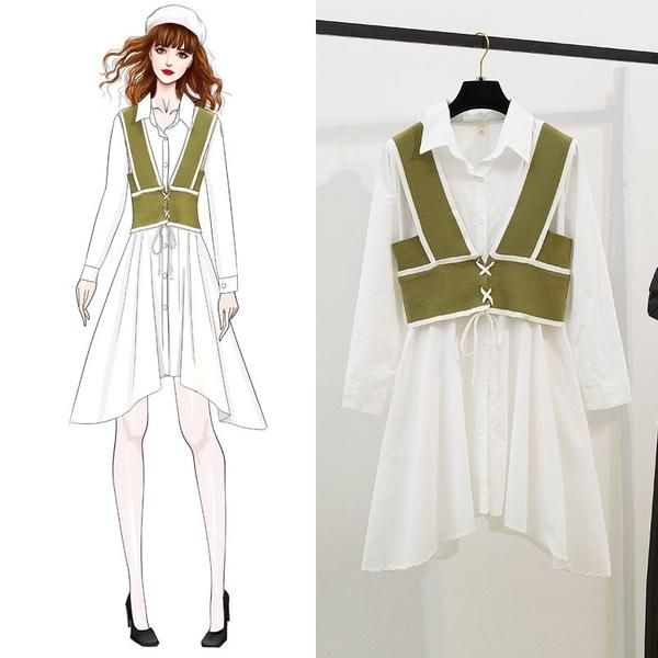 絕版出清 韓國風襯衫裙針織馬甲學院風長袖洋裝