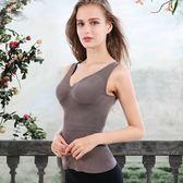 【狐狸跑跑】女士無縫包臀長衫一體式V領背心竹纖維保暖內衣帶胸托內衣Z104