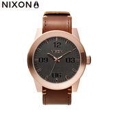 NIXON手錶 原廠總代理 A243-2001 CORPORAL 咖 玫瑰金色 潮流時尚皮錶帶 男女 運動 生日 情人節禮物