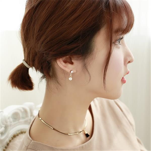 Qmigirl 韓版不對稱迷你流蘇甜美氣質珍珠鑲鑽耳環【QG1947】