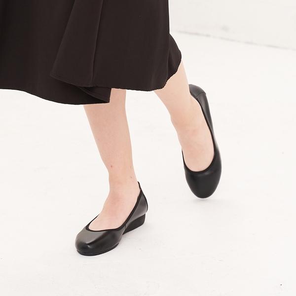 大尺碼女鞋41-44 夢想店 上班族首選真皮舒適百搭防滑耐磨厚底鞋2.5cm【LS181-381】黑色