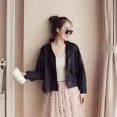皮衣外套-立領寬鬆休閒短款女夾克2色73on42【巴黎精品】