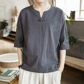 優一居 棉麻上衣男 大碼寬鬆復古刺繡中袖t恤(4色 M-5XL)