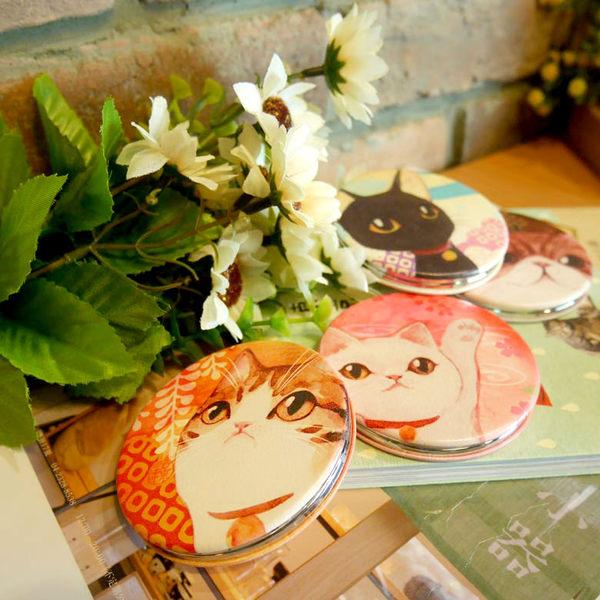 【貓粉選物】貓咪隨身鏡-白貓 和風水彩系列 雙面鏡 化妝鏡 補妝鏡 小圓鏡