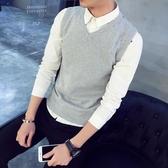 純棉 秋冬季男士毛衣加絨針織衫背心馬甲V領線衣純色坎肩上衣服潮 新年慶