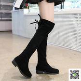長筒靴 2019秋冬季女式長筒靴子歐美英倫時尚騎士靴圓頭中跟方跟防滑女靴 快樂母嬰