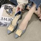 低跟鞋 淺口尖頭單鞋女2020夏季新款韓版百搭網紅平底溫柔風仙女豆