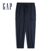 Gap女裝 輕盈質感抽繩鬆緊休閒褲 547245-海軍藍色