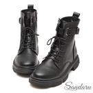 中筒靴 率性重磅環扣飾馬汀鞋-黑