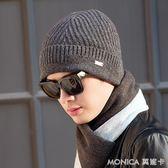 毛帽 羊毛帽子男士冬天季韓版潮青年加厚加絨護耳卷邊中老年保暖毛線帽  莫妮卡小屋
