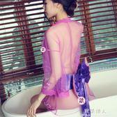 性感睡衣大碼日系和服透明薄紗透視睡裙女夏開衫誘惑配腰帶 完美情人精品館