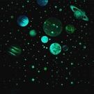 夜光貼夜光宇宙太空太陽繫銀河繫幼兒園裝飾貼畫熒光星星月亮星座墻貼紙 【快速出貨】