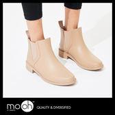 短筒雨鞋 素面切爾西鬆緊帶雨靴-杏裸色 mo.oh(歐美鞋款)
