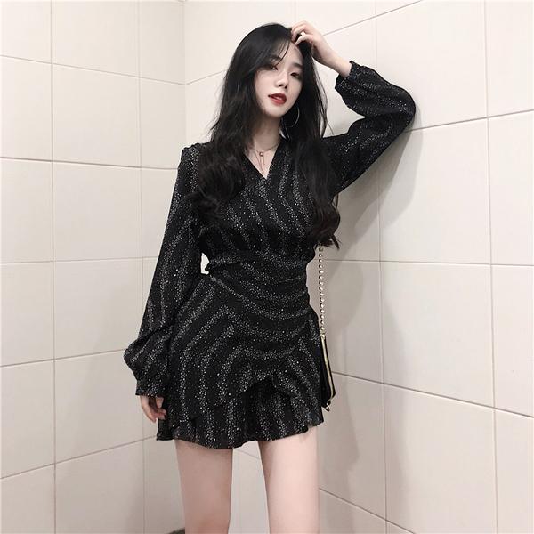 VK旗艦店 韓國風V領不規則荷葉邊綁帶收腰長袖洋裝