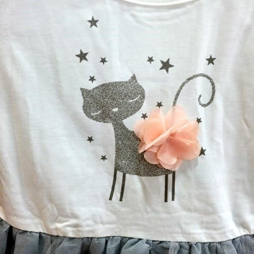 ☆棒棒糖童裝☆(11526)夏女童小貓灰紗裙洋裝  5-15