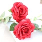 3頭仿真玫瑰花家居客廳落地裝飾花假花絹花干花擺件擺設   都市時尚