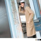 《EA2944》輕柔棉感大口袋連帽開襟長版外套/罩衫 OrangeBear