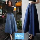 【V8026】shiny藍格子-韓範清新.高腰單排釦A字大擺牛仔長裙