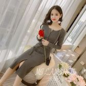 針織連身裙 冬季新款韓版內搭高領中長款過膝打底毛衣裙子 米蘭shoe