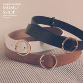 MUMU SHOP【A67234】韓妞定番幾何金屬圓圈皮帶。三色